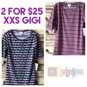 XXS BUNDLE! LuLaRoe Gigi Top Striped